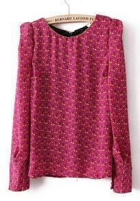 Rose Red Puff Long Sleeve Floral Beaded Blouse