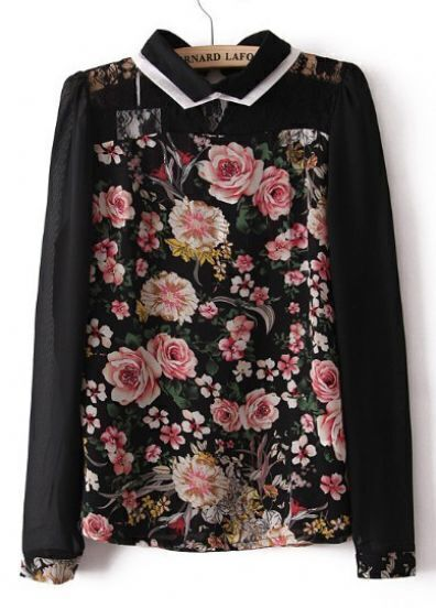 Black Long Sleeve Lace Hollow Floral Blouse