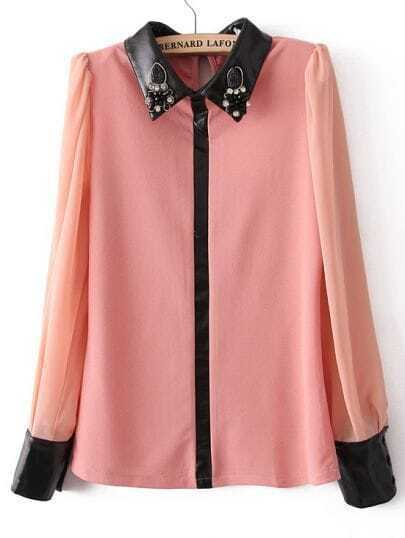 Pink Contrast PU Leather Lapel Rhinestone Blouse