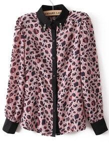 Pink Leopard Long Sleeve Rhinestone Blouse