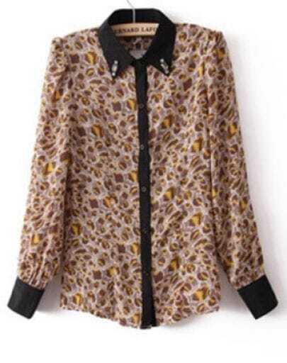 Yellow Leopard Long Sleeve Rhinestone Blouse