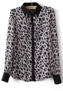 White Leopard Long Sleeve Rhinestone Blouse
