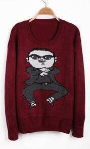 Wine Red Long Sleeve Gangnam style Pattern Sweater