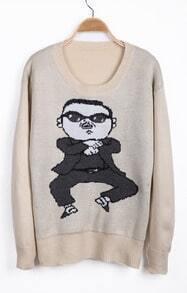 Apricot Long Sleeve Gangnam style Pattern Sweater