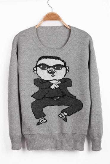 Grey Long Sleeve Gangnam style Pattern Sweater