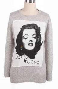 Grey Long Sleeve Monroe Avatar Pattern Sweater