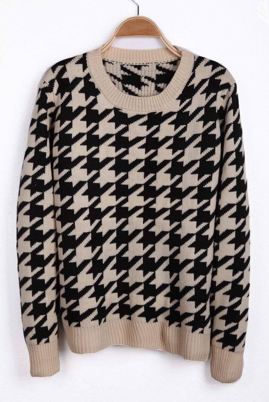 Houndstooth Knitting Pattern In The Round : Apricot Long Sleeve Houndstooth Pullover Sweater -SheIn(Sheinside)