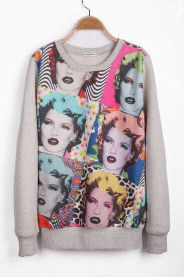 Light Grey Long Sleeve Marilyn Monroe Pattern Sweatshirt
