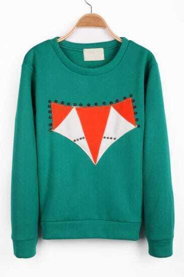 Green Long Sleeve Geometric Print Rivet Sweatshirt