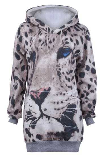 Grey Hooded Leopard Pattern Long Sweatshirt
