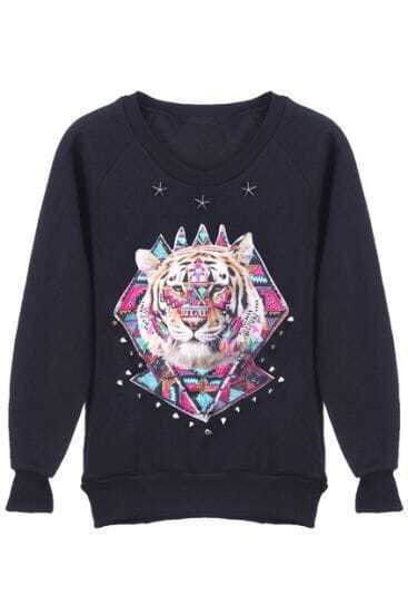 Black Long Sleeve Tiger Pattern Rivet Sweatshirt