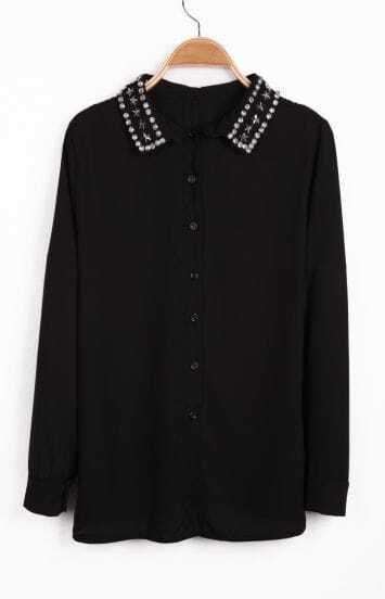 Black Long Sleeve Rhinestone Stars Rivet Chiffon Blouse