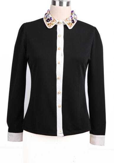 Black Long Sleeve Contrast Trims Rhinestone Blouse
