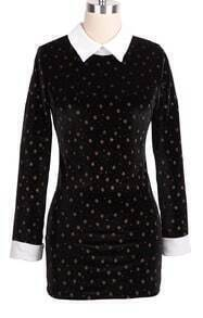 Black Contrast Collar Snowflake Pattern Dress