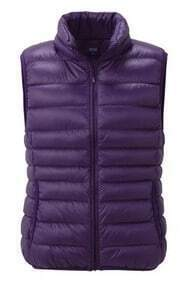 Purple Sleeveless Zipper Pockets Down Vest Coat