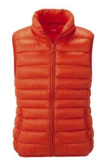 Orange Sleeveless Zipper Pockets Down Vest Coat