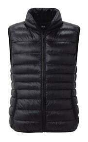 Black Sleeveless Zipper Pockets Down Vest Coat