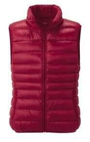 Red Sleeveless Zipper Pockets Down Vest Coat