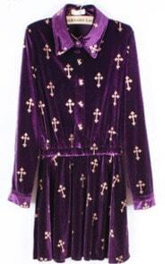 Purple Lapel Long Sleeve Cross Print Bow Velvet Dress