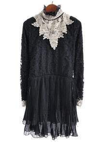 Black High Neck Embroidery Pleated Lace Dress