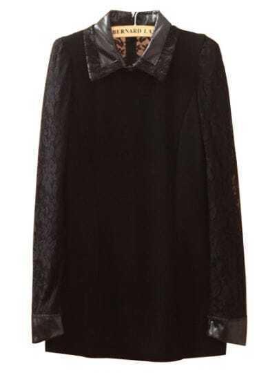 Black Contrast PU Leather Lapel Lace Dress