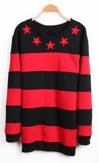 Red Black Striped Long Sleeve Stars Sweatshirt