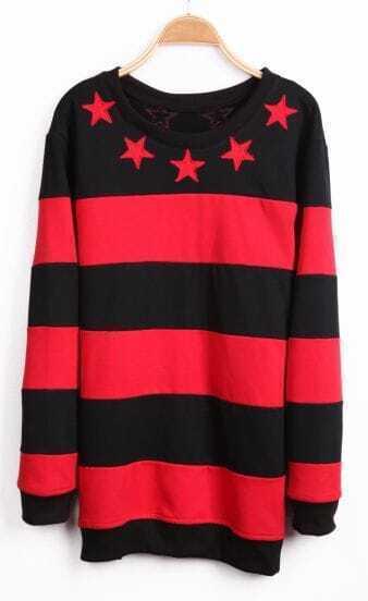 Red Black Striped Long Sleeve Stars Sweatshirt