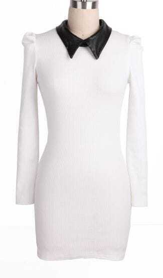 White Contrast PU Leather Lapel Slim Dress