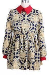 Long Sleeve Retro Pattern Chiffon Dress