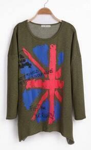 Army Green Long Sleeve Union Jack Print T-Shirt