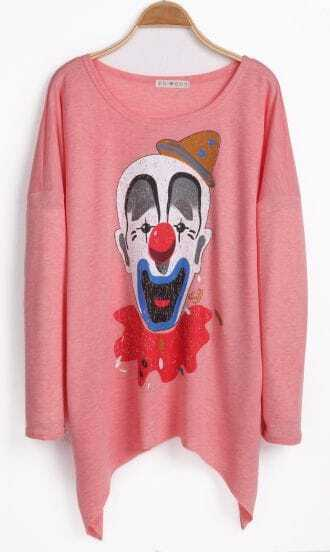Pink Long Sleeve Clown Print Loose T-Shirt