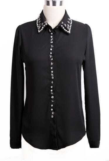 Black Long Sleeve Rhinestone Stars Rivet Blouse