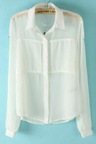 White Lapel Long Sleeve Pockets Chiffon Blouse