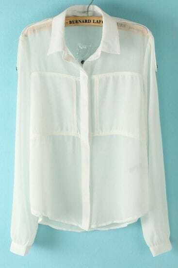 White Lapel Long Sleeve Pockets Chiffon Blouse