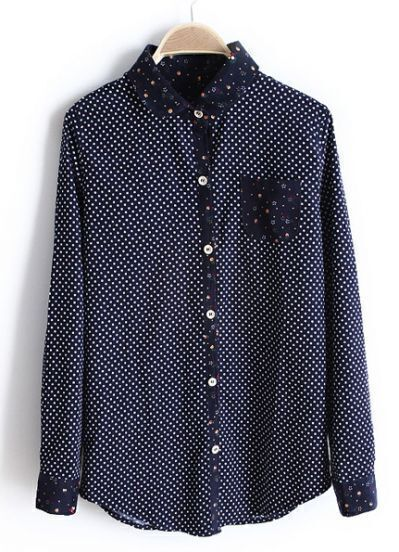 Navy Contrast Floral Lapel Long Sleeve Polka Dot Blouse
