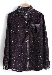 Coffee Polka Dot Lapel Long Sleeve Floral Blouse