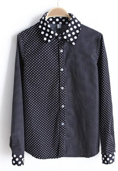 Black Polka Dot Lapel Plaid Long Sleeve Blouse