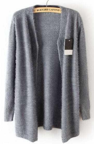 Grey Long Sleeve Trichoma Cardigan Sweater