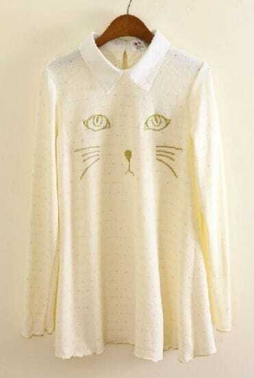 White Long Sleeve Cat Pattern Hollow Sweater