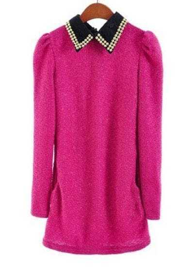 Rose Red Puff Sleeve Lace Rivet Lapel Sweater