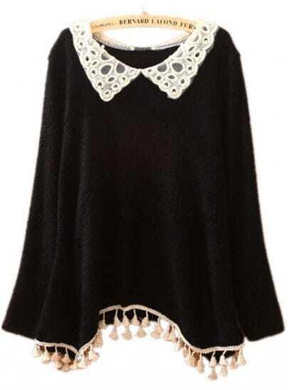 Black Lace Lapel Asymmetrical Lap Tassel Sweater