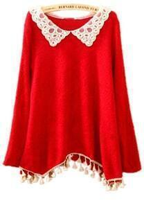 Red Lace Lapel Asymmetrical Lap Tassel Sweater