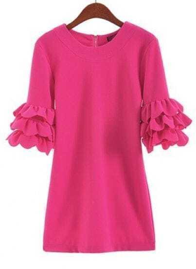 Rose Red Cascading Ruffle Half Sleeve Zipper Dress