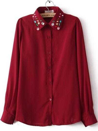 Red Long Sleeve Gemstone Embellished Chiffon Blouse