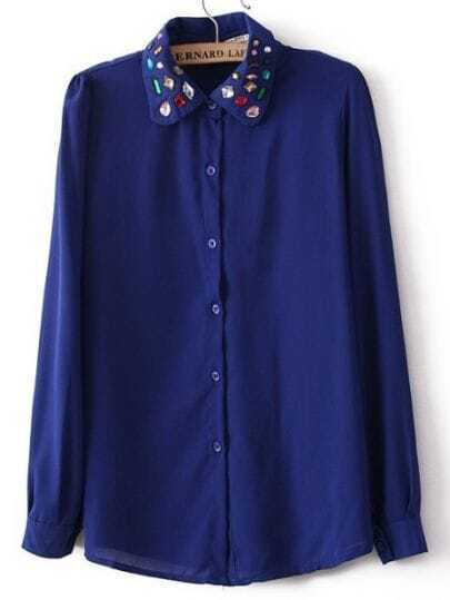 Blue Long Sleeve Gemstone Embellished Chiffon Blouse