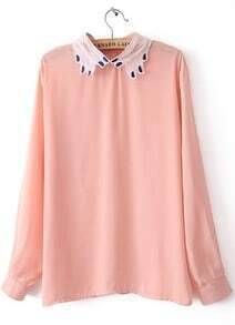 Pink Long Sleeve Embroidery Zipper Chiffon Blouse