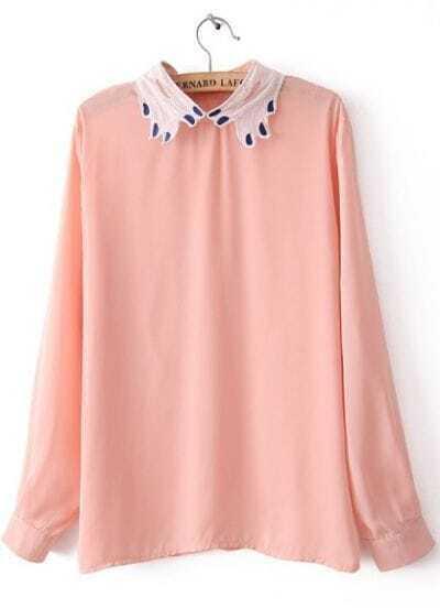 Pink Long Sleeve Embroidery Zipper Chiffon Blouse