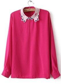 Rose Red Long Sleeve Embroidery Zipper Chiffon Blouse