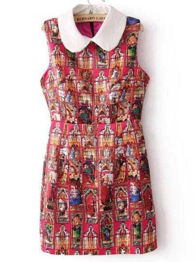 Rose Red Sleeveless Figure Print Tank Dress