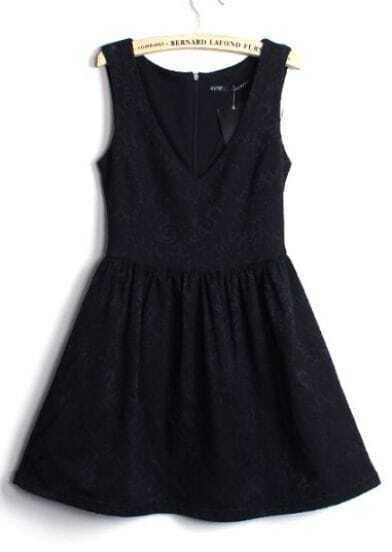 Black V Neck Sleeveless Lace Tank Dress